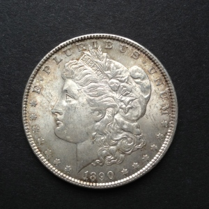 1890 circulated Morgan dollar, obverse