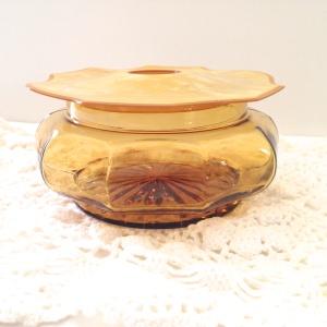 Amber glass hair receiver, circa 1930s