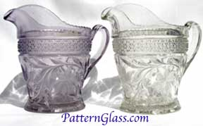 Purpling of antique pattern glass.