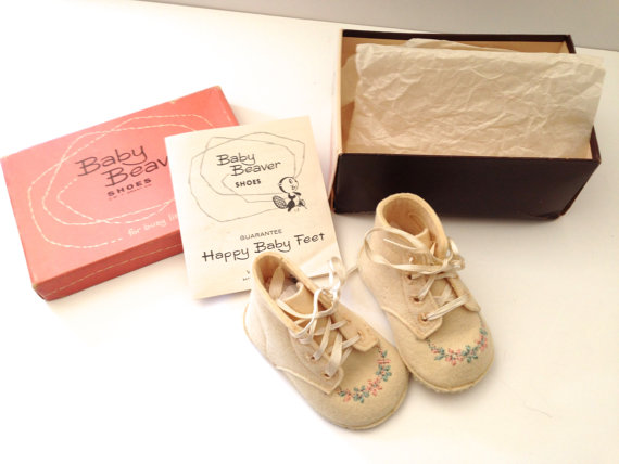 1950s Baby Beaver Shoes in Original Box
