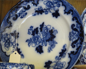 Flow Blue porcelain. Photo courtesy of Treehouse Antiques, Cape May, NJ
