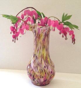 Vintage End of Day or Spatter glass vase, circa 1920s