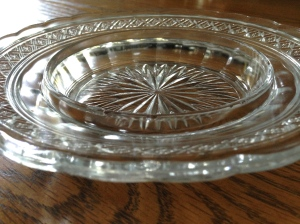 "Indiana Glass ""Bosworth"" or ""Star Band"" covered butter or cheese dish, without lid."