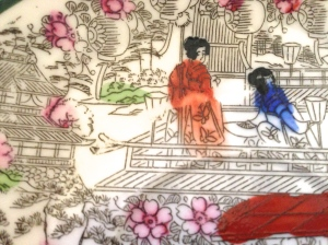 "Original Geisha Girl plate. Note the ""sloppy"" coloring within the lines."