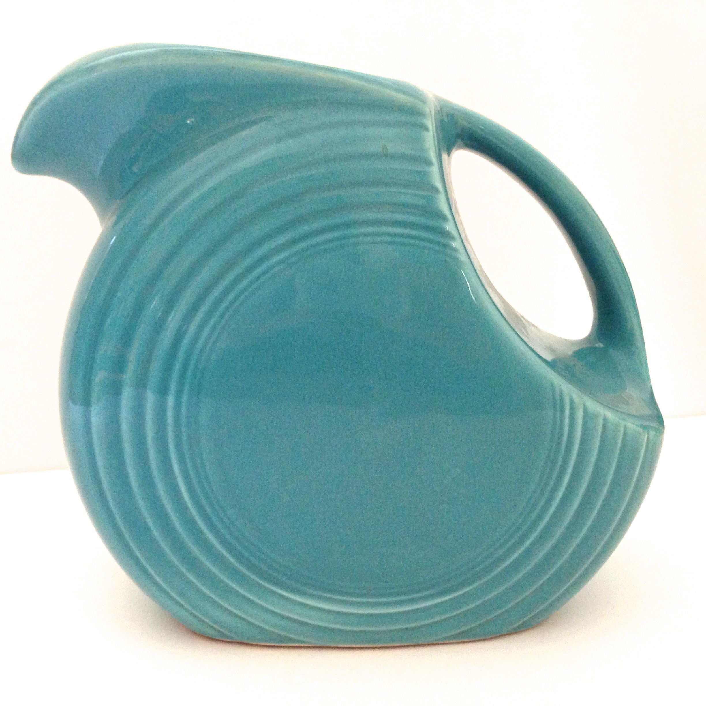 Vintage disk pitcher in original turquoise 1937-1969.  sc 1 st  Janvier Road - WordPress.com : turquoise dishes dinnerware - pezcame.com