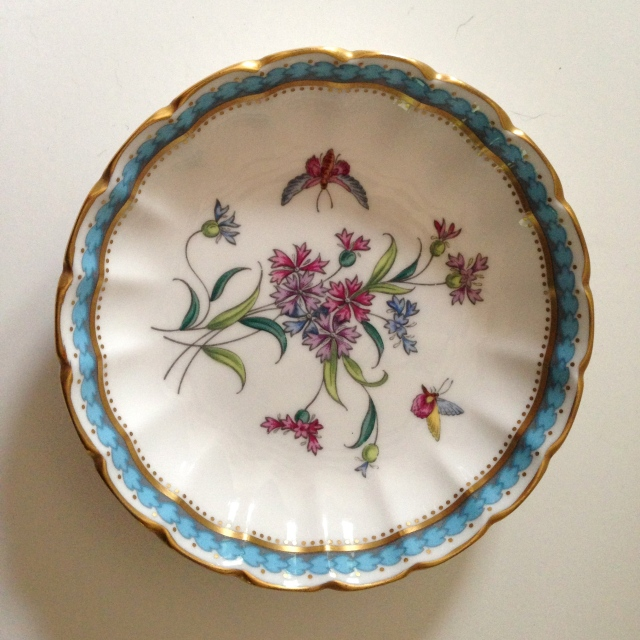 "1970s Spode dish, ""Trapnell"" pattern."