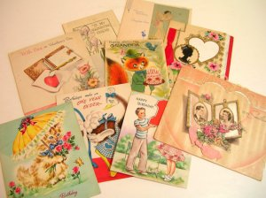 Lot of vintage cards for crafts. Photo courtesy of Bountiful Books, Etsy