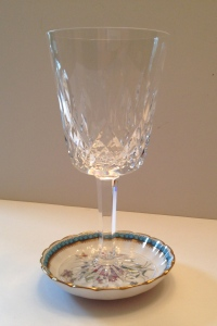 "Waterford wine glass on 1970s Spode ""Trapnell"" coaster, er, pin dish"