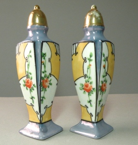 Lusterware salt and pepper shakers. Photo courtesy of Ayla's Antiques, Etsy