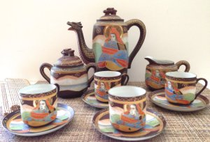 Vintage Moriage Dragonware Tea Set, 1930s