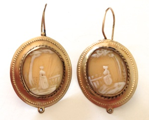 """Victorian """"landscape"""" or """"scenic"""" cameo earrings, circa late 19th Century to early 20th Century"""