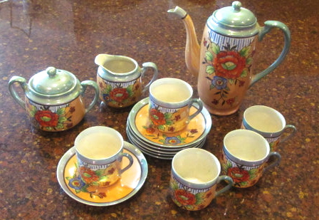 Handpainted Lusterware Japanese Tea Set. Photo courtesy of On Winston Lane, Etsy