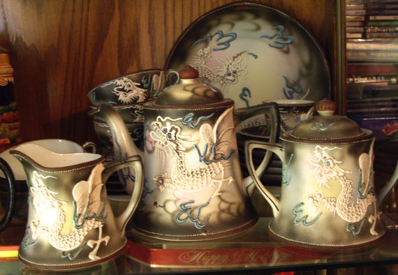 Antique Moriage Nippon Tea Set Photo courtesy of BarbsBurntTree, Etsy