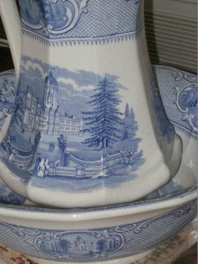 Antique stoneware pitcher and bowl. Photo courtesy of Treehouse Antiques, Cape May, NJ. Notice the grey cast to the base color.