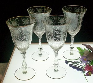 """Cambridge """"Wildflower"""" Etched Water Goblets with Gold Rims. Photo courtesy of Elegant Etches, Etsy"""
