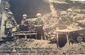 """""""Salvation Army making doughnuts"""" on the front lines, France, WWI"""