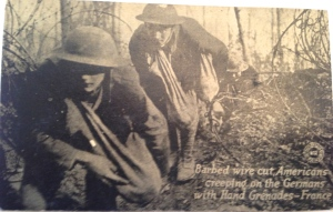 """Americans creeping on the Germans with hand grenades,"" France, WWI."