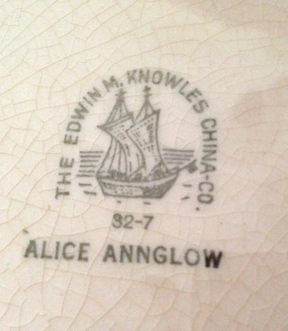 Typical 1930s Knowles backstamp. The first number is the year of manufacture; the second number is the month.